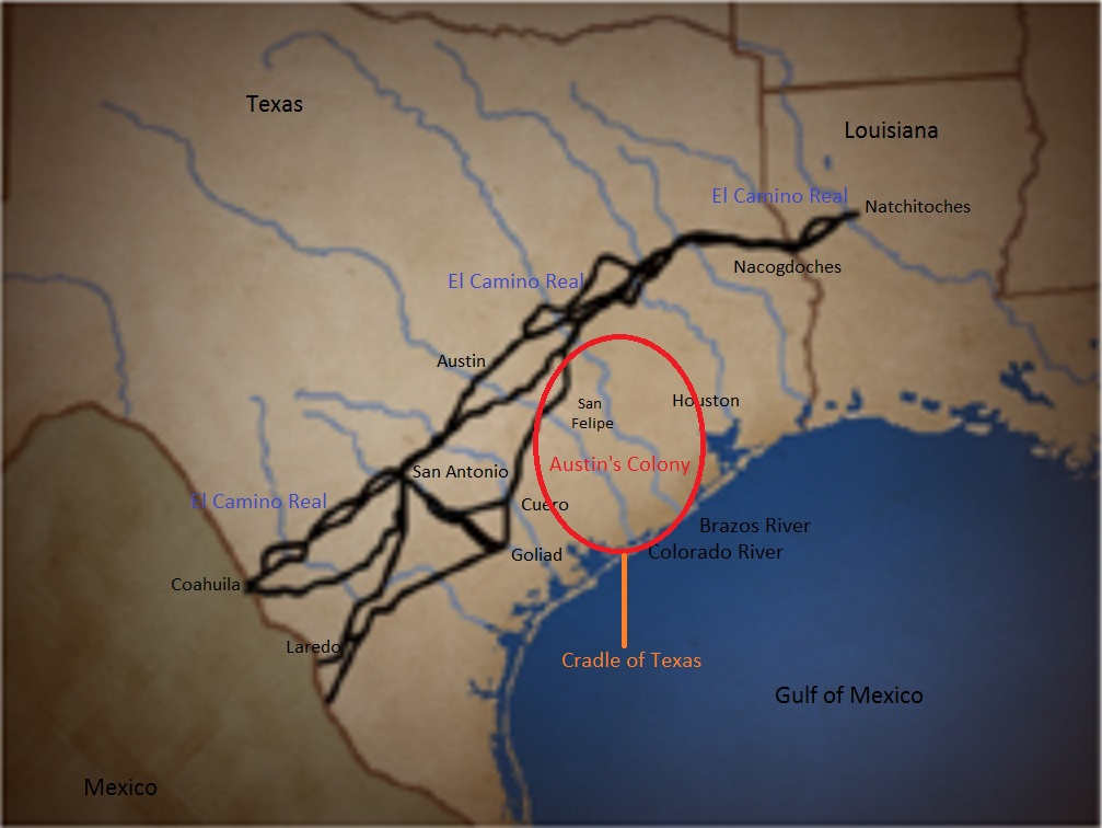 Map Of Texas And Louisiana Border With Cities.Austin S Colony Cradle Of Texas Chapter 33 Sons Of The American