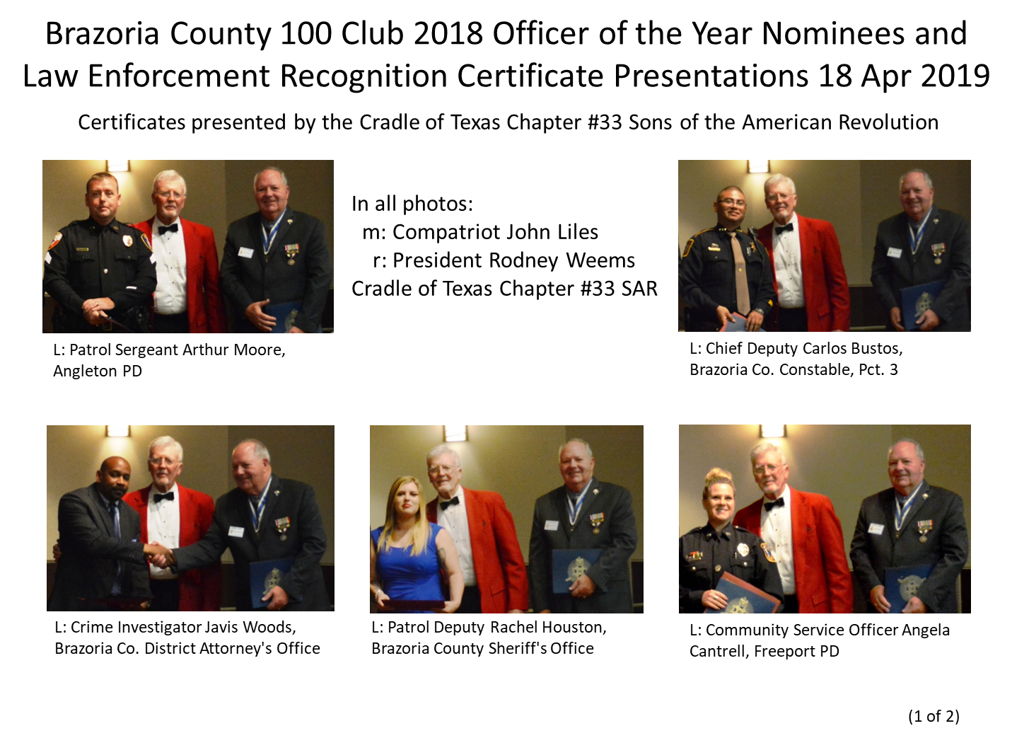 Brazoria County 100 Club 2018 Officer of the Year Nominees (1 of 2)
